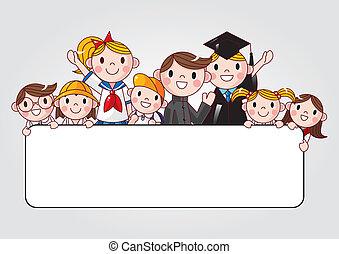 csoport, diák, jókedvű, birtok, transzparens, hirdetés