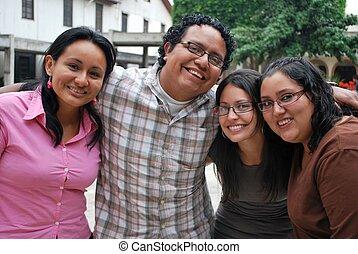 csoport, diákok, együtt, spanyol, bájos, móka, birtoklás