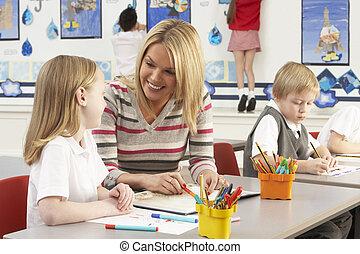 csoport, elemi, osztály tanár, iskolások, feladat, birtoklás