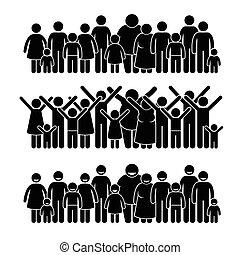 csoport emberek, álló, közösség