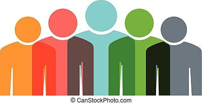 csoport, emberek, öt, befog