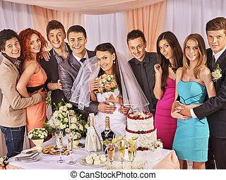 csoport, emberek, -ban, esküvő, asztal.