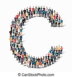 csoport, emberek, levél, forma