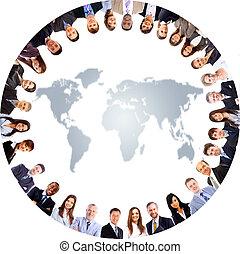 csoport emberek, mindenfelé, egy, világ térkép