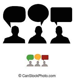 csoport emberek, noha, beszéd, panama, vektor