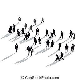 csoport, emberi, felül