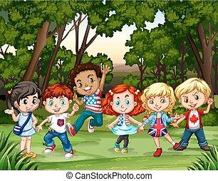 csoport, erdő, gyerekek
