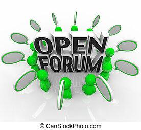 csoport, fórum, emberek, fejteget, beszéd, kihallgat, nyílik