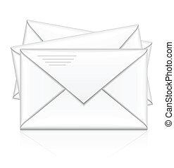 csoport, fehér, postai, boríték
