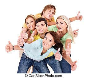 csoport, fiatal, white., emberek