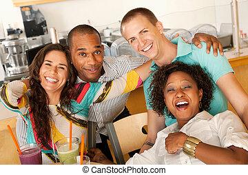 csoport, friends nevetés