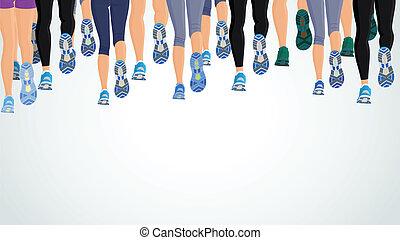 csoport, futás, emberek, combok