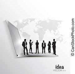 csoport, hivatal, ügy, laptop, modern, vektor, híg,...
