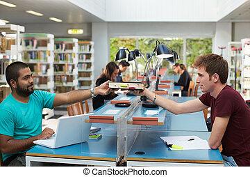 csoport, könyvtár, emberek