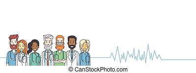 csoport, középső, orvosok, szív sebesség, érverés, befog