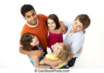 csoport, közül, öt, young gyermekek, alatt, műterem