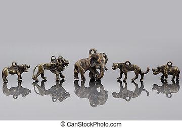 csoport, közül, afrikai, állatok, beads.