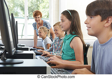 csoport, közül, alapvető, szembogár, alatt, computer osztály, noha, tanár