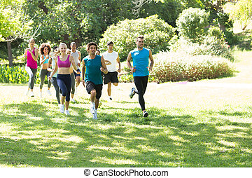 csoport, közül, atléta, futás