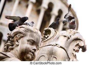 csoport, közül, balek, képben látható, a, szobor