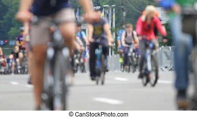 csoport, közül, biciklista, -ban, bicikli fut