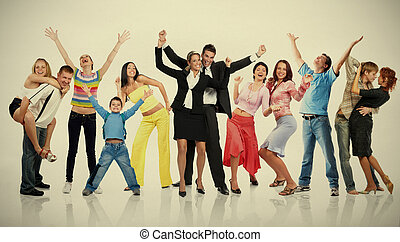 csoport, közül, boldog, emberek.