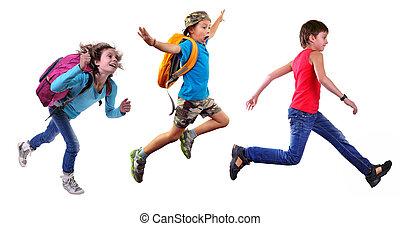 csoport, közül, boldog, iskolások, vagy, utazó, futás,...