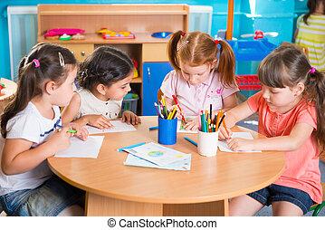 csoport, közül, csinos, kevés, preschool, gyerekek, rajz