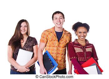 csoport, közül, diák, elszigetelt