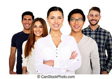 csoport, közül, egy, mosolyog emberek, álló, elszigetelt, képben látható, egy, white háttér