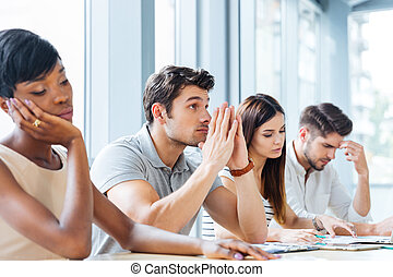 csoport, közül, fáradt, unott, emberek, képben látható, üzleti találkozás, alatt, hivatal