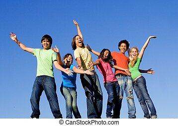 csoport, közül, felfordulás életpálya, gyerekek