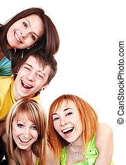 csoport, közül, fiatal, boldog, emberek.