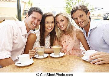 csoport, közül, friendsenjoying, kávécserje, alatt, caf?