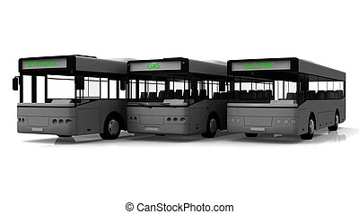 csoport, közül, három, város, busz