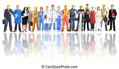 csoport, közül, ipari, workers.
