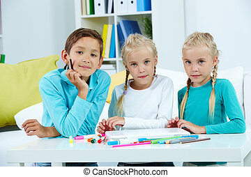 csoport, közül, iskolások