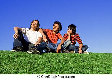 csoport, közül, különböző, tizenéves kor