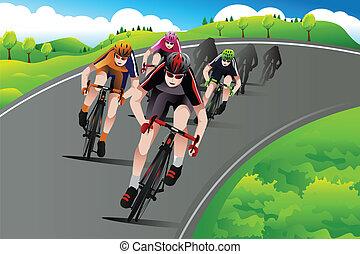 csoport, közül, kerékpárosok, versenyzés