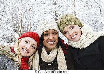 csoport, közül, lány friends, kívül, alatt, tél
