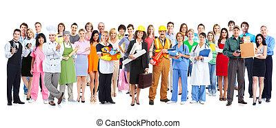 csoport, közül, munkás, emberek.