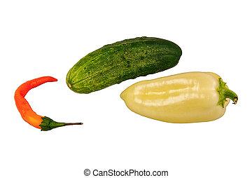 csoport, közül, növényi, képben látható, egy, white háttér