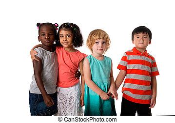 csoport, közül, sok nemzetiségű, gyerekek, portré, alatt, studio.isolated