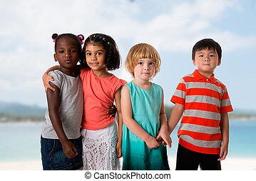 csoport, közül, sok nemzetiségű, gyerekek, portré