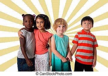 csoport, közül, sok nemzetiségű, gyerekek, portrait.