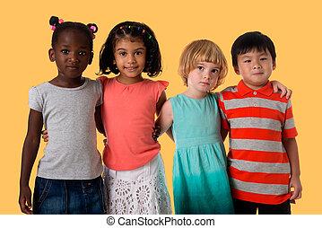 csoport, közül, sok nemzetiségű, gyerekek, portrait.studio