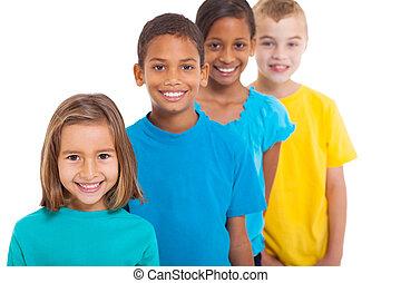 csoport, közül, sok nemzetiségű, gyerekek