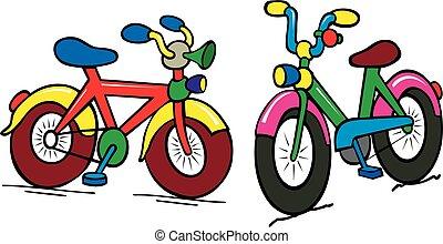csoport, közül, szín, gyerekek, bicikli