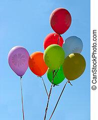 csoport, közül, színes, ünneplés, vagy, születésnap, barty, léggömb