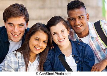 csoport, közül, tízenéves kor, középiskola, diákok